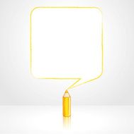 Yellow Pencil Drawing Smooth Square Speech Balloon