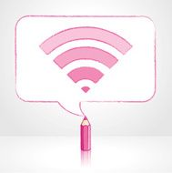 Pink Pencil Drawing Digital WiFi Icon in Rectangular Speech Bubble
