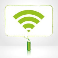 Green Pencil Drawing Digital WiFi Icon in Rectangular Speech Bubble