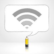 Yellow Lead Pencil Drawing Digital WiFi Icon Rectangular Speech Bubble
