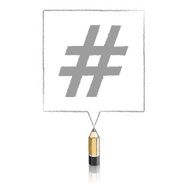 Wooden Lead Pencil Drawing Hashtag in Square Speech Balloon