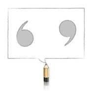 Wooden Lead Pencil Drawing Quotation Marks in Rectangular Speech