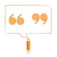 Orange Pencil Drawing Quotation Marks in Rectangular Speech Ball