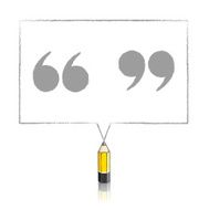 Yellow Lead Pencil Drawing Quotation Marks in Rectangular Speech
