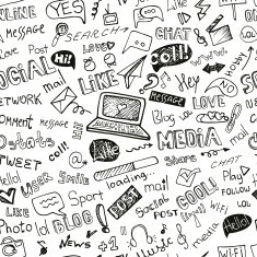 Social Media Word Icon seamless pattern Doodle sketchy