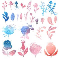 Watercolor nature clip art