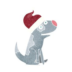 cartoon dog wearing christmas hat