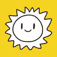 smiling Sun, hand drawn Doodle