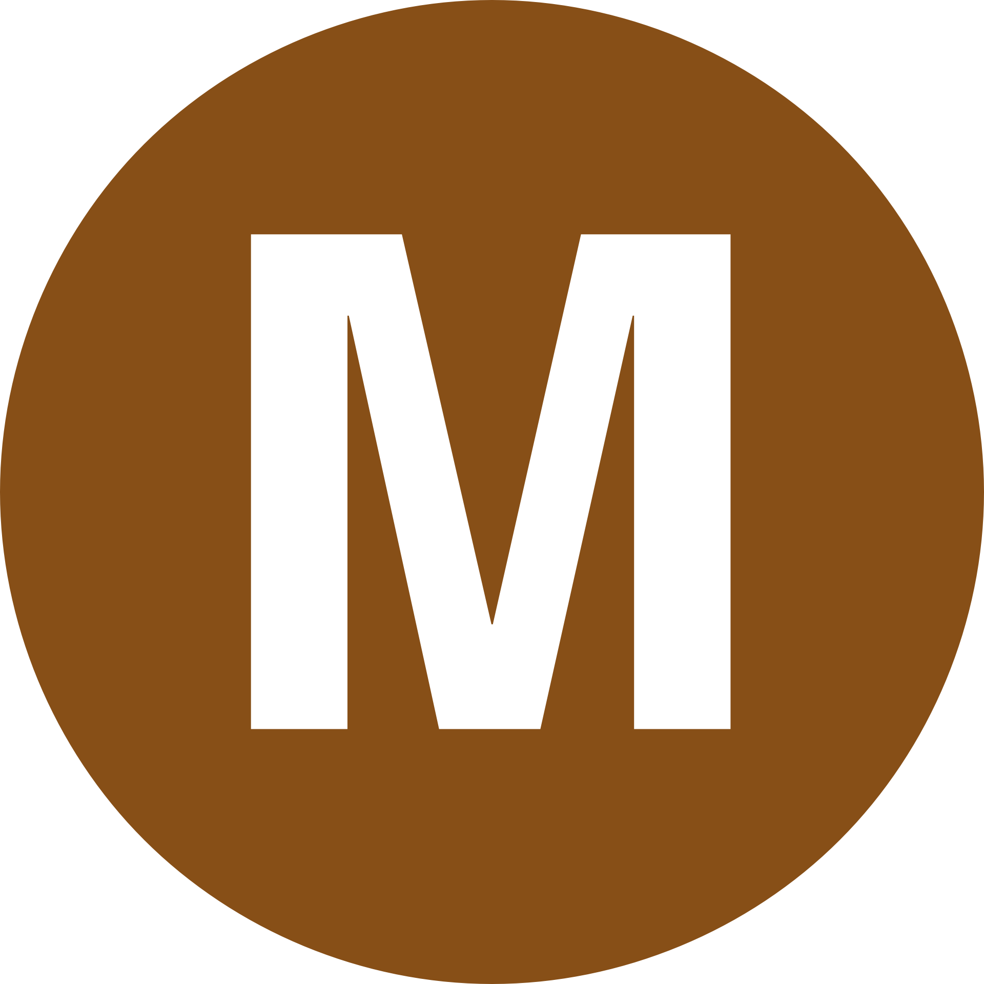 Brown Circle With The Alphabet Capital Letter M Free Image