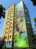 colorful mural on a high-rise building in the city of bydgoszcz
