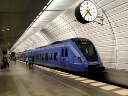 blue train in subway