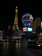 las vegas strip night eiffel tower