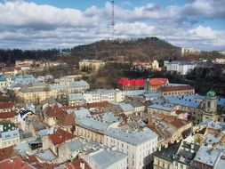 old city top view, ukraine, lviv