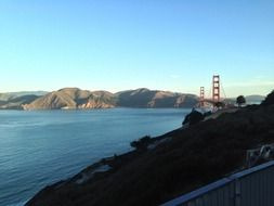 The view from the mountains to the Golden Gate Bridge in San Francisco