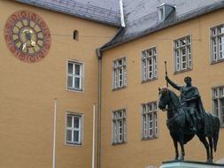 Statue of King Ludwig I on horseback near the building