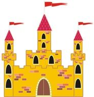 flag isolated yellow tower castle drawing