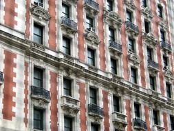 facade of a building with french balconies in New York