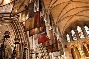 flags as part of the interior of the cathedral in ireland