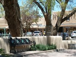 taos city market place bench trees