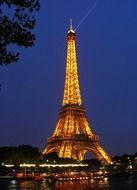 illuminated Eiffel Tower at night