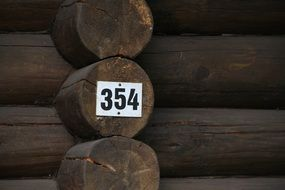 black wood house number