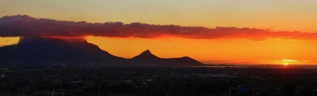 table mountain in the evening sky in Cape Town, South Africa