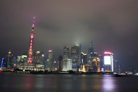 night view of shanghai city