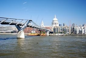 a view on bridge and St. Paul's Cathedral with the Thames