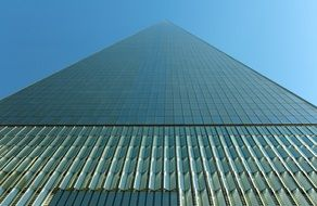 low angle view of world trade center skyscraper, usa, manhattan, nyc
