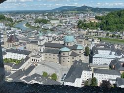 top view of old city on both banks of salzach river, austria, salzburg
