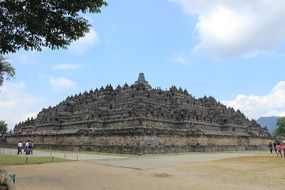 distant view of the Borobudur temple complex in indonesia