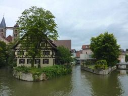 scenic old town on water at summer, germany, esslingen