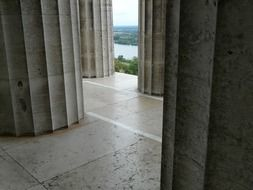 view through the columns on the danube