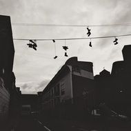 shoes over city street