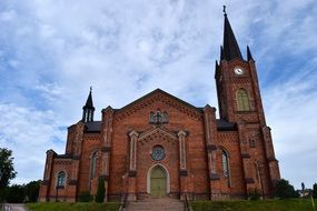 Red brick church facade