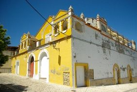 old yellow building in Alhama de Granada, Spain