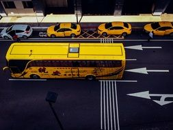 bus yellow and taxi