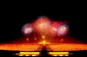 fireworks over dhammakaya pagoda at night