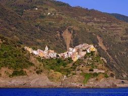 Houses on the cliff in Cinque Terre,Italy