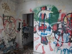 grunge walls with graffiti in abandoned building, usa, florida