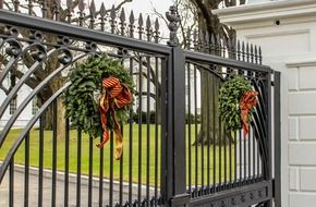 Christmas wreaths at the gate