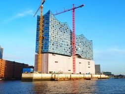 Construction of a building in the port of Hamburg