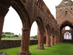 Ruins of a chapel with arches in Scotland