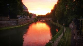 sunset in Strasbourg, France