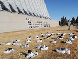 training shoes near air force academy building