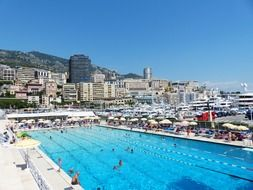 panoramic view of a large outdoor pool in monaco
