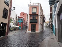 colorful old town on rainy weather, spain, santa cruz de tenerife, la palma