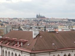 View of the city roofs of Prague