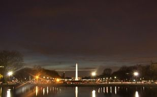 illuminated washington monument at night sky, usa, washington dc