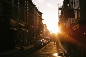 Picture of urban street at the sunset